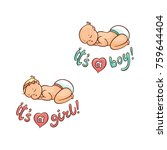 newborn boy  girl infant... | Shutterstock .eps vector #759644404