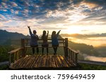 group happy tourists on top of... | Shutterstock . vector #759649459