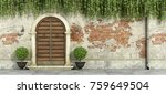 classic facade with wooden... | Shutterstock . vector #759649504