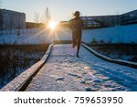 young woman running on the snow ... | Shutterstock . vector #759653950