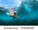 active girl in bikini in action.... | Shutterstock . vector #759658489