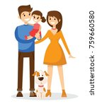 happy young family with child... | Shutterstock .eps vector #759660580