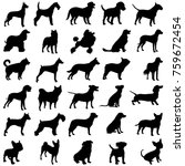 Stock vector set of dogs black silhouettes of dogs 759672454