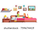 two lesbian woman family couple ... | Shutterstock .eps vector #759674419