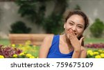 a female laughing | Shutterstock . vector #759675109