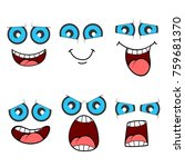 cartoon faces set with blue eyes | Shutterstock .eps vector #759681370
