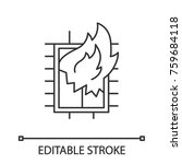 house on fire linear icon.... | Shutterstock .eps vector #759684118
