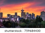 Stock photo colourful sunset behind the downtown vancouver skyline 759684430