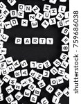Small photo of Party word made of beads. a series of minimalism phrases and words.