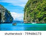 boat in maya bay phi phi... | Shutterstock . vector #759686173