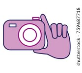 hand with photographic camera... | Shutterstock .eps vector #759687718