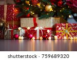 christmas card with festive... | Shutterstock . vector #759689320