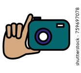 hand with photographic camera... | Shutterstock .eps vector #759697078