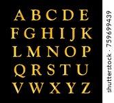 golden alphabet on a black... | Shutterstock . vector #759699439
