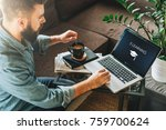 rear view. young man ... | Shutterstock . vector #759700624