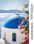 blue dome church in santorini... | Shutterstock . vector #759710224