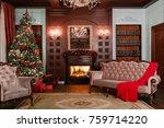 christmas evening. classic... | Shutterstock . vector #759714220
