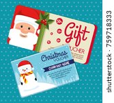 christmas gift voucher gift... | Shutterstock .eps vector #759718333