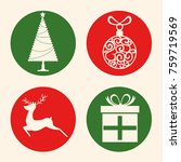 christmas holiday icons  | Shutterstock .eps vector #759719569