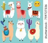 vector set of cute llamas.6... | Shutterstock .eps vector #759727336