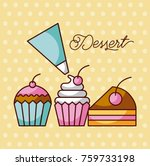dessert sweet cupcakes and... | Shutterstock .eps vector #759733198