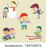 vector illustration of happy... | Shutterstock .eps vector #759735073
