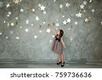 portrait of a happy little girl ... | Shutterstock . vector #759736636