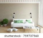 beige room interior. 3d interior | Shutterstock . vector #759737560