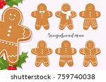 set of smiling gingerbread man. ... | Shutterstock .eps vector #759740038