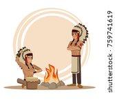 american indians cartoon   Shutterstock .eps vector #759741619
