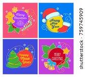 flat linear christmas banner ...   Shutterstock .eps vector #759745909