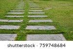 pathway in garden  green lawns...   Shutterstock . vector #759748684