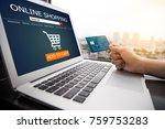 online shopping concept.female... | Shutterstock . vector #759753283