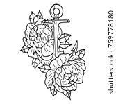 anchor and peony vector