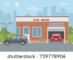 car wash station and two cars... | Shutterstock .eps vector #759778906