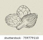 full and cut budding artichoke... | Shutterstock .eps vector #759779110