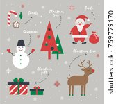 a set of christmas elements... | Shutterstock .eps vector #759779170