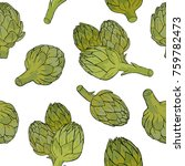 seamless pattern with green... | Shutterstock .eps vector #759782473