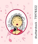 pink musical notes background...   Shutterstock .eps vector #75978322