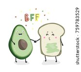 avocado and toast. best friends ... | Shutterstock .eps vector #759783529