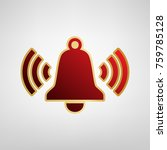 ringing bell icon. vector. red... | Shutterstock .eps vector #759785128