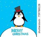 cute pinguin on winter... | Shutterstock .eps vector #759788128