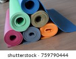 group of colorful yoga mats for ... | Shutterstock . vector #759790444