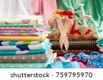 a lot of cotton fabric for... | Shutterstock . vector #759795970