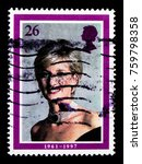 Small photo of MOSCOW, RUSSIA - OCTOBER 3, 2017: A stamp printed in Great Britain shows portrait of Diana, Princess of Wales Commemoration serie, circa 1998