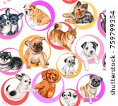 Stock photo seamless pattern with puppies wallpapers with dogs watercolor illustration 759799354