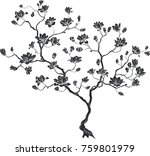 silhouette of a cherry branch.... | Shutterstock .eps vector #759801979