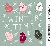 'winter time' sign with... | Shutterstock .eps vector #759802246