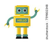 funny yellow vector robot with... | Shutterstock .eps vector #759802348