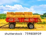 Hay Wagon With Hay Bales On...